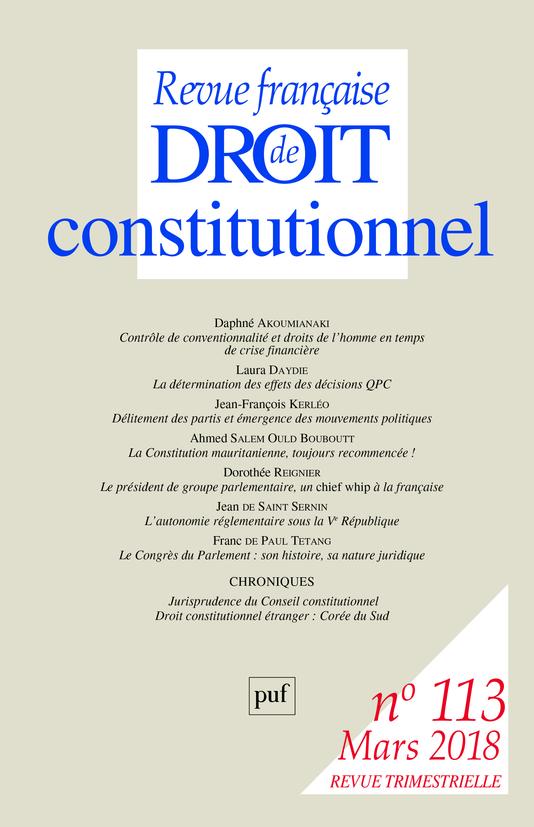 REVUE FRANCAISE DE DROIT CONSTITUTIONNEL