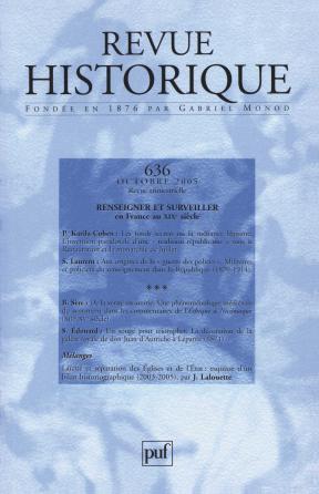 Revue historique 2005, n° 636