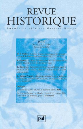Revue historique 2007, n° 644