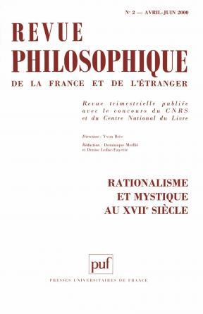 Revue philosophique 2000, t. 125 (2)