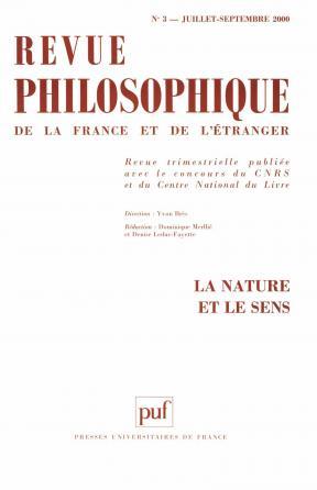 Revue philosophique 2000, t. 125 (3)