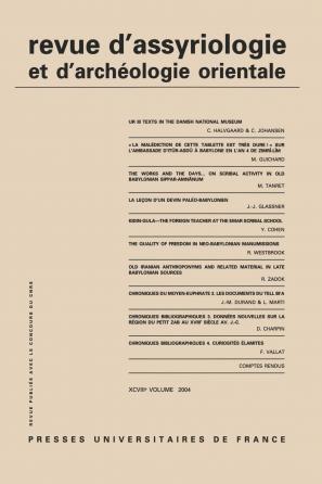 Rev. d'assyrio. et d'archéo. orient. 2004, vol. 98