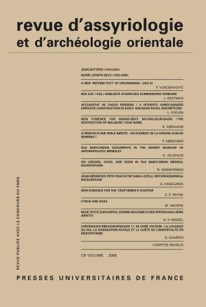 Rev. d'assyrio. et d'archéo. orient. 2008, vol. 102