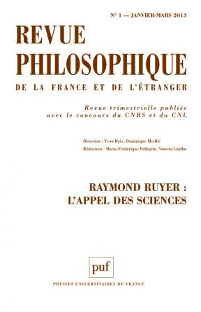 Revue philosophique 2013, t. 138 (1)