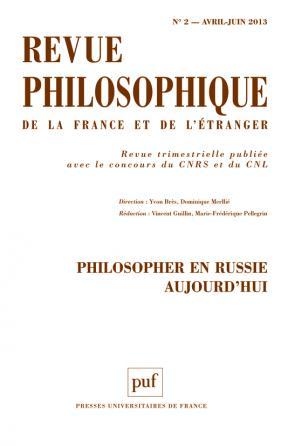 Revue philosophique 2013, t. 138 (2)