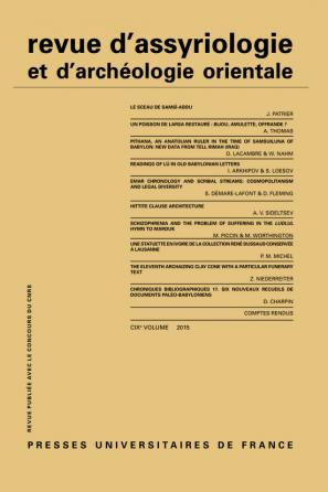 Rev. d'assyrio. et d'archéo. orient. 2015, vol. 109