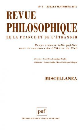 Revue philosophique 2017, t. 142 (3)