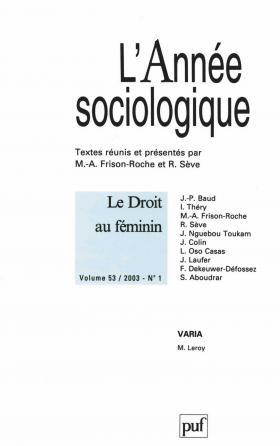 année sociologique 2003, vol. 53 (1)