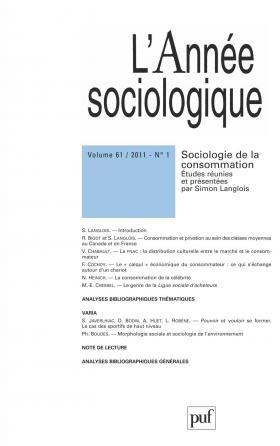 année sociologique 2011, vol. 61 (1)