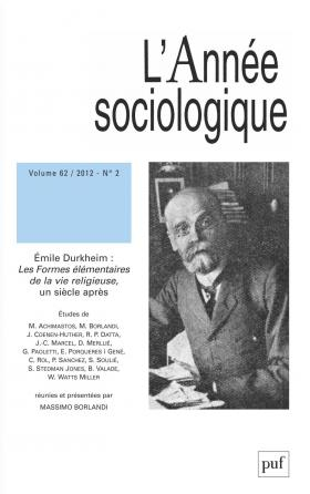 année sociologique 2012, vol. 62 (2)