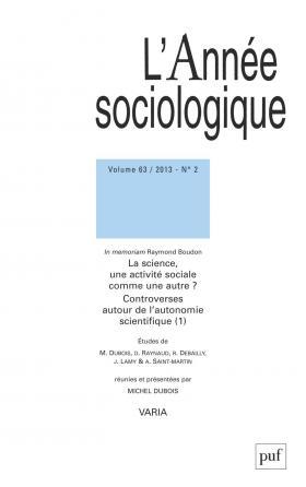 année sociologique 2013, vol. 63 (2)