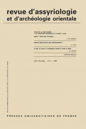 Rev. d'assyrio. et d'archéo. orient. 1998, vol. 92 (2)