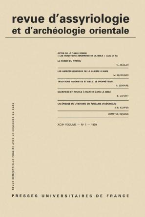 Rev. d'assyrio. et d'archéo. orient. 1999, vol. 93 (1)
