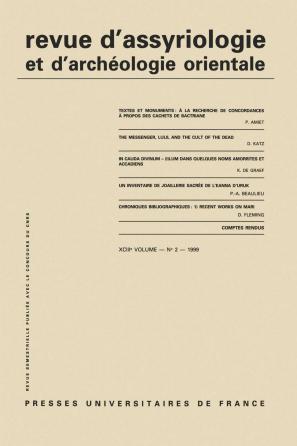 Rev. d'assyrio. et d'archéo. orient. 1999, vol. 93 (2)