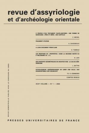 Rev. d'assyrio. et d'archéo. orient. 2000, vol. 94 (1)