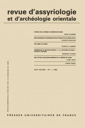 Rev. d'assyrio. et d'archéo. orient. 2002, vol. 96 (1)