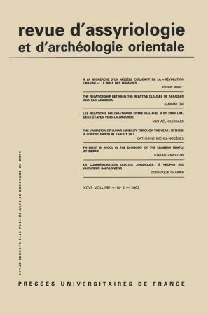 Rev. d'assyrio. et d'archéo. orient. 2002, vol. 96 (2)