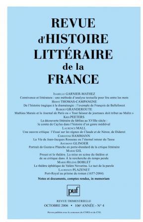 Revue d'histoire littéraire de la France 2006 - n° 4