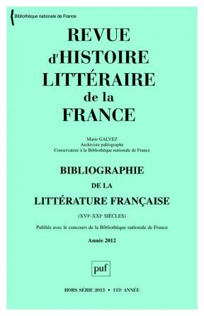 RHLF 2013, Bibliographie 2012