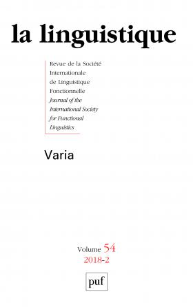 linguistique 2018, vol. 54 (2)