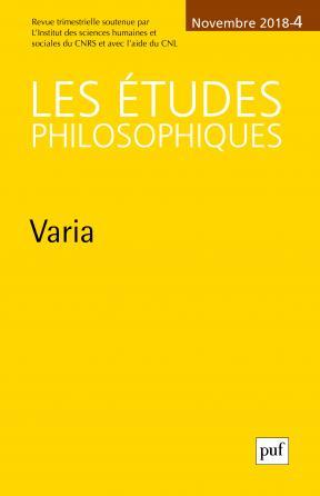 Les Etudes philosophiques 2018, n° 4