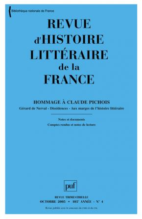 Revue d'histoire littéraire de la France 2005 - n° 4
