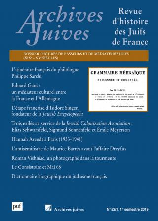 Archives Juives, vol. 52, n° 1 (2019)