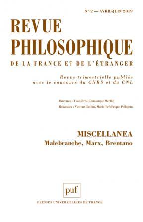 Revue philosophique 2019, t. 144 (2)