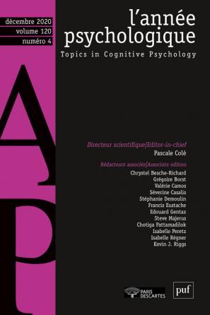 L'ANNEE PSYCHOLOGIQUE- 2020 - 4