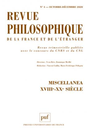 REVUE PHILOSOPHIQUE 2020, T.145(4)