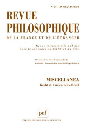 REVUE PHILOSOPHIQUE 2021, T. 146(2)