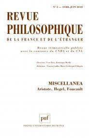 Revue philosophique 2018, t. 143 (2)