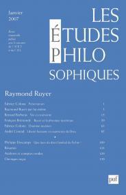 études philosophiques 2007, n° 1