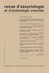 Rev. d'assyrio. et d'archéo. orient. 2007, vol. 101