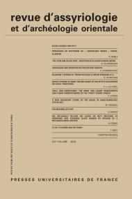 Rev. d'assyrio. et d'archéo. orient. 2010, vol. 104