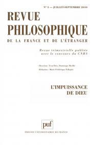 Revue philosophique 2010, t. 135 (3)