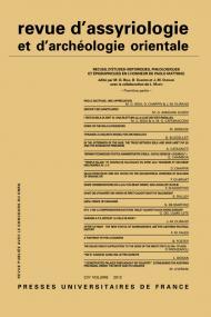 Rev. d'assyrio. et d'archéo. orient. 2012, vol. 106