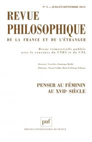 Revue philosophique 2013, t. 138 (3)