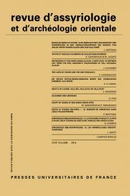 Rev. d'assyrio. et d'archéo. orient. 2014, vol. 108