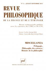 Revue philosophique 2015, t. 140 (3)