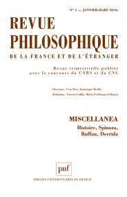 Revue philosophique 2016, t. 141 (1)