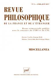 Revue philosophique 2017, t. 142 (2)