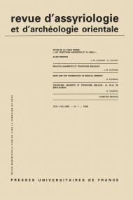 Rev. d'assyrio. et d'archéo. orient. 1998, vol. 92 (1)