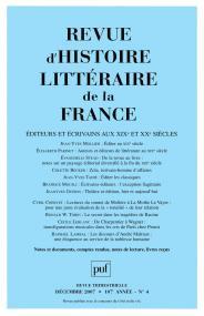 Revue d'histoire littéraire de la France 2007 - n° 4