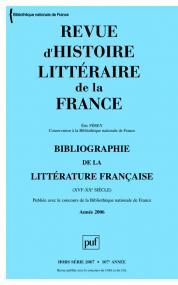 Revue d'histoire littéraire de la France 2007 - n° Bibliographie