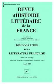 RHLF 2014, Bibliographie 2013
