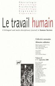 travail humain 2000, vol. 63 (3)