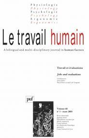 travail humain 2005, vol. 68 (1)