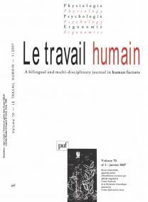 Le  travail humain 2007 - vol. 70 - n° 1