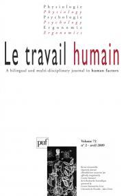 travail humain 2009, vol. 72 (2)